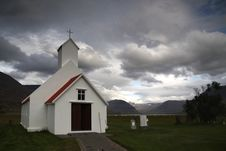 Free Typical Icelandic Wooden Church With Grey Clouds Royalty Free Stock Images - 16990129