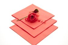 Free Napkin With Rose Royalty Free Stock Image - 16990656