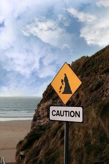 Free Beach Landslide Caution Sign Stock Photos - 16990983