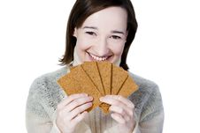 Free Smiling Girl Holding Bread Crisps Stock Photography - 16991002