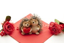 Hedgehog Pair With Heart Stock Photo