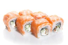 Free Sushi Maki With Salmon Topping Royalty Free Stock Images - 16991249