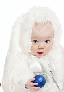 Beautiful Baby Boy In A Rabbit Fancy Dress Stock Photo