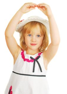 Free Cute Little Girl Dancing With Hands Stock Photos - 16994463