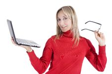 Free Happy Working Woman Royalty Free Stock Image - 16994936