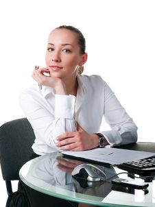 Free Businesswoman Sits At The Computer Stock Images - 16995324