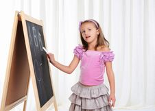 Little Girl Wrote In Chalk Royalty Free Stock Photography