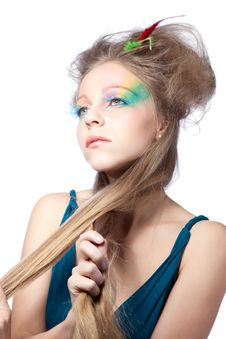 Free Beautiful Woman  With Color Makeup Royalty Free Stock Photos - 16996858