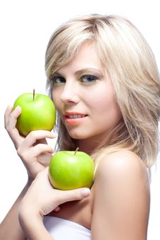 Free Young Girl With  Apples Royalty Free Stock Photos - 16997018