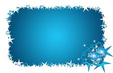 Free Christmas Card Blue Stars And Flowers Stock Photos - 16997433
