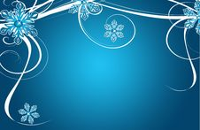 Free Christmas Card Blue Stars And Flowers Stock Photo - 16997980