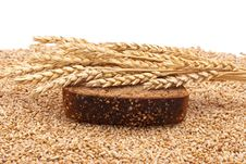 Slice Bread With Wheat Ears Stock Photos