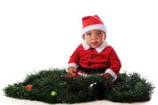 Free Santa In The Garland Royalty Free Stock Photography - 16999487