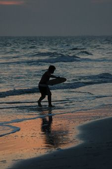 Twilight Skimboarding II Stock Photography