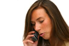 Free Attractive Brunette On The Phone Stock Photography - 177122
