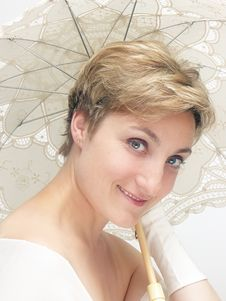 Free Beautifu Dreamy Woman Holding Fancy Umbrella Royalty Free Stock Photo - 178475