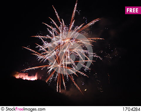 Fireworks and Castle in Bernkasel-Jues, Germany Stock Photo