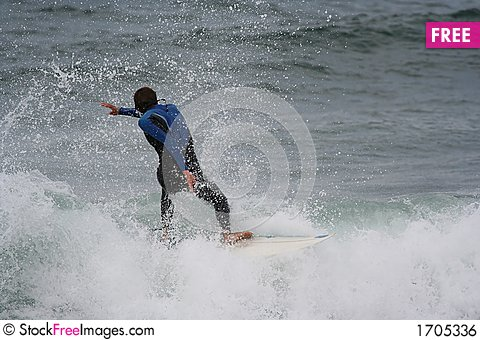 Surfer in the wave Stock Photo
