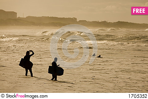 Sunset bodybarders Stock Photo