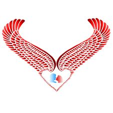 Free Wing Heart And Silhouette Stock Photography - 1700792