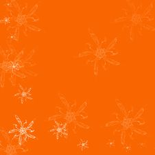 Free Orange Background With Flowers Royalty Free Stock Image - 1704216