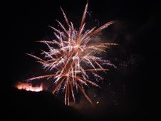 Free Fireworks And Castle In Bernkasel-Jues, Germany Stock Images - 1704284