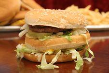 Free BIG Burger W/fries & Cheeseburgers Stock Image - 1706091