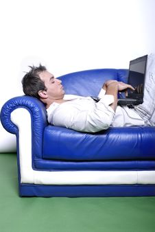 Yuppie With Laptop Royalty Free Stock Image