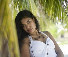 Free Beautiful Girl Waiting By A Palm Tree Stock Image - 1707481