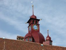 Free Swiss Church Tower And Clock Stock Photography - 1708862