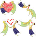 Free Cartoon Set Of Two Lovers Stock Images - 17003674
