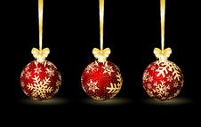 Free Three Red Christmas Spheres Stock Image - 17000721