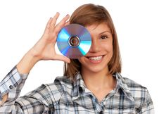 Free Girl With Disc Stock Image - 17001241