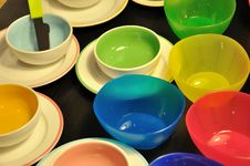 Free Bowl, Dishes In Different Color Stock Image - 17001301