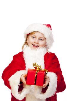Happy Santa Claus Girl Holds Christmas Gift Stock Photography