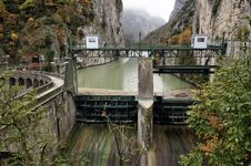 Free Hydroelectric Plant In Mountain Gully Stock Images - 17002144