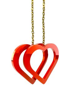 Hearts With A Gold Chain Stock Photo