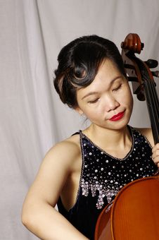 Woman Play Cello Stock Images