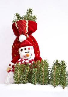 Free Toy  Snowman And Pine Royalty Free Stock Photos - 17003508
