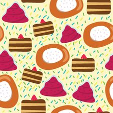 Free Seamless Cartoon Pattern With Cake Royalty Free Stock Images - 17003519