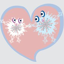 Cartoon Snowflakes In Love Stock Images