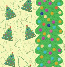 Free Christmas Seamless Pattern With Tree. Stock Photos - 17003723