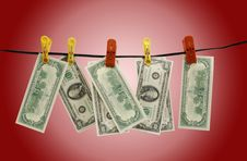 Free Dollars Hang On A Rope Royalty Free Stock Photography - 17004587
