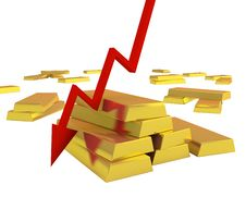 Free Gold Ingots With Red Arrow Down Stock Image - 17004661