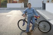 Free Little Boy With Bike Royalty Free Stock Image - 17005656