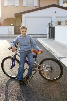 Free Little Boy With Bike Stock Photos - 17005733