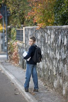 Free Schoolboy Outdoors Royalty Free Stock Photo - 17006335