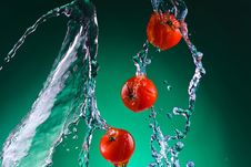 Free Few Tomatoes In Water Splash Royalty Free Stock Photos - 17006498