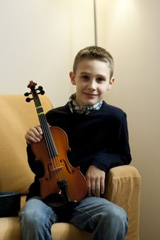 Young Boy With Violin Stock Image