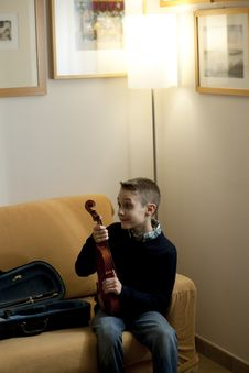Young Boy With Violin Royalty Free Stock Images